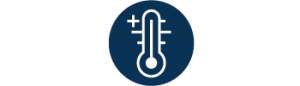 white outlined thermometer temperature check icon